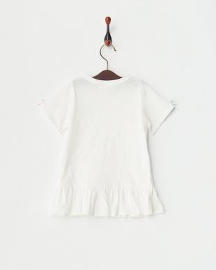 ホワイト×カラフル  リボン付きTシャツ見る
