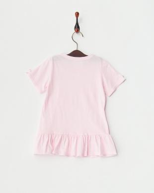 ピンク×カラフル  リボン付きTシャツ見る