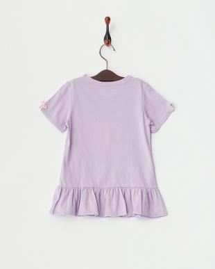 ラベンダー×カラフル  リボン付きTシャツ見る