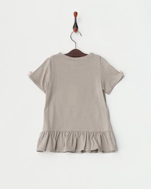 グレー×グレー  リボン付きTシャツ見る