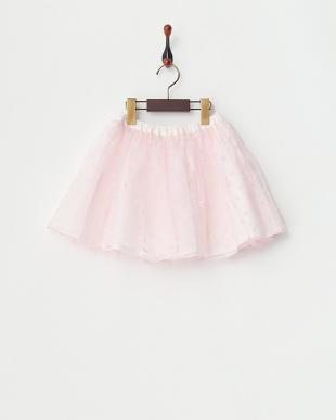 ピンク  フラワー&チュールリバーシブルスカート見る