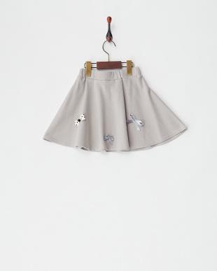 グレー  リボン付きスカート見る