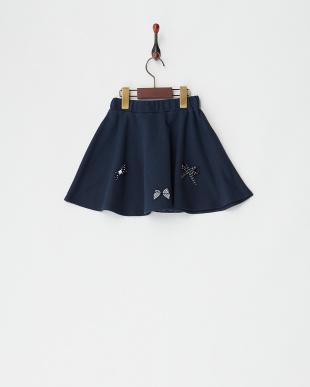ネイビー  リボン付きスカート見る