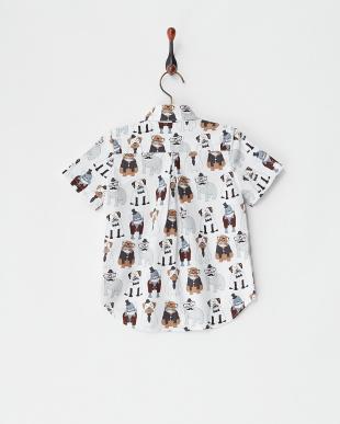 犬  コットンプリントシャツ見る