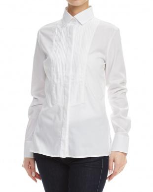 白 ピンタックデザインシャツ見る