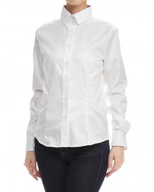 白  ポイント刺繍デザインシャツ見る
