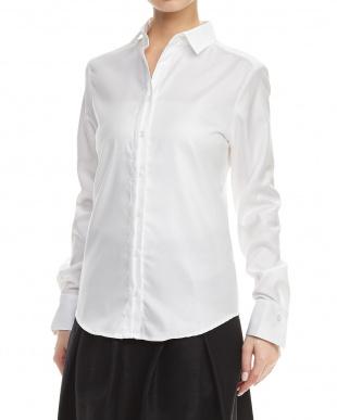 白  別布使い長袖シャツ見る