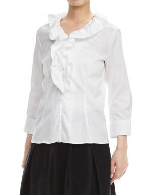 白 オックスフォードフリルシャツ見る