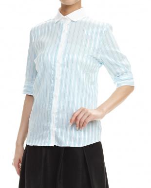 紫  コントラストストライプ別布使い半袖シャツ見る