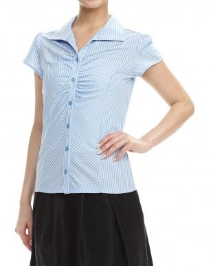 青 ストライプ切り替えギャザー入りシャツ見る