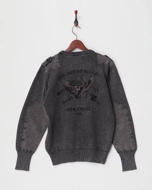 BLACK 刺繍コマンドセーター見る