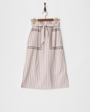 RED a-マルチストライプ刺繍スカート見る