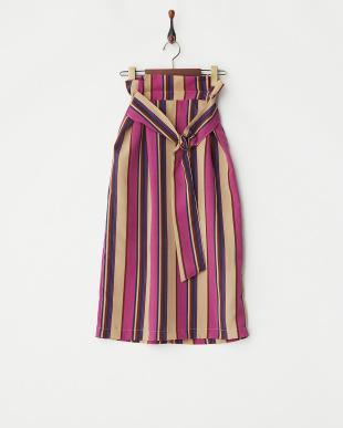 ベージュ  カラーストライプタイトスカート見る