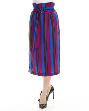 ブルー  カラーストライプタイトスカート見る