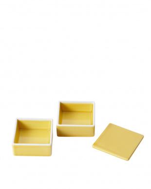 黄釉 ミニ角二段重見る