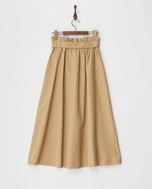 ベージュ ウエストリボン トレンチ風プルオンスカート見る
