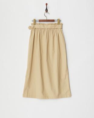 ライトベージュ ウエストベルト トレンチ風プルオンスカート見る