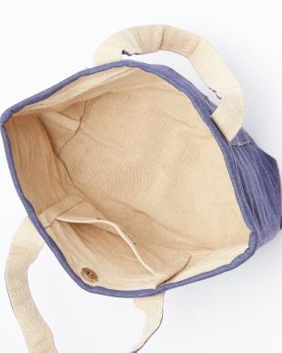 ブルー系 ステッチ入り手織りミニトートバッグ見る