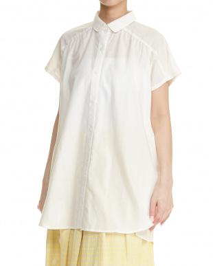 ホワイト 手織りコットン チュニックシャツ見る