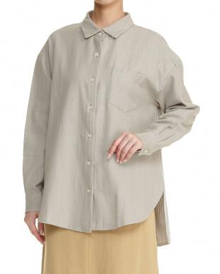 ネイビー  手織りヘリンボーン 長袖シャツ見る