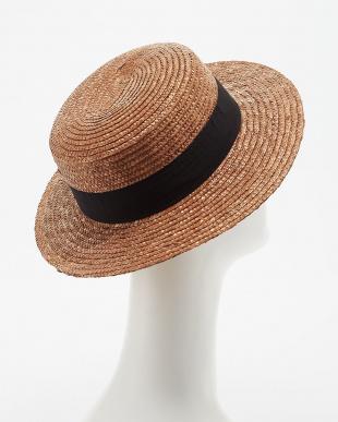 ブラウン  グログランリボン ストローカンカン帽見る