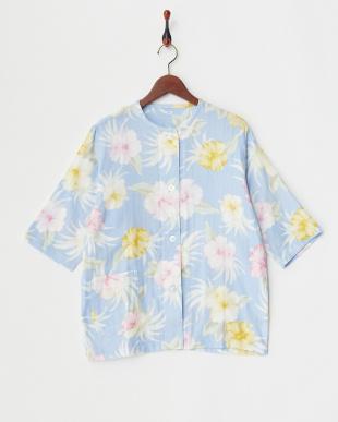 ブルー  アロハ柄婦人七分袖パジャマ見る