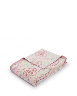 ピンク  Denaニューマイヤー毛布(総柄) 140×120cm見る