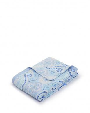 ブルー  Denaニューマイヤー毛布(総柄) 140×120cm見る