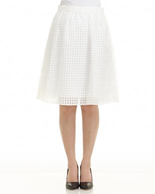 ホワイト  シースルーチェック スカート 955見る