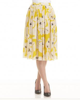 099 YEL Ruby flower silk skirt見る