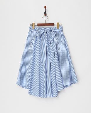 ブルー ストライプフレアスカート見る