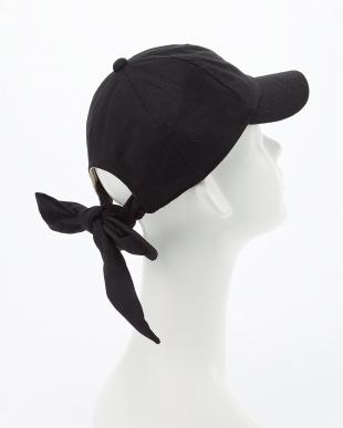 ブラック  COTTON LINEN RIBBON CAP見る