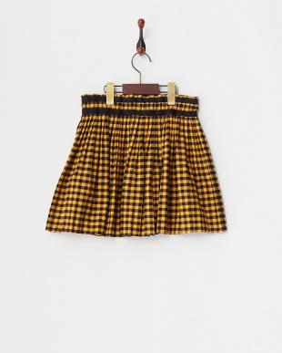 イエロー Skirt ギンガムプリーツ×異素材切替(34~)見る