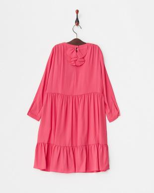 630 ピンク Dress シルク混 フラワービジューブローチ付(~32)見る