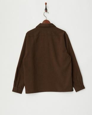 Dark Brown Wポケットオープンカラーシャツ見る