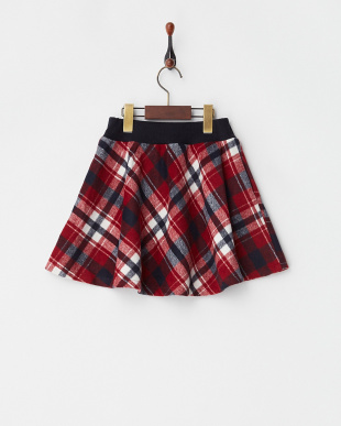レッド  シャギーチェックインナーパンツスカート(130以下)見る