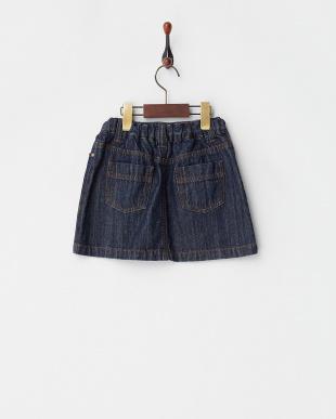 ネイビー フラワー刺繍デニムスカート(130以下)見る