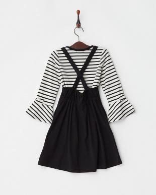 ブラック  袖リボンカットソー×フレアジャンバースカート(130以下)見る