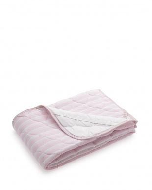 ピンク  吸水速乾+消臭加工ニットワッフル素材敷パット シングルサイズ見る