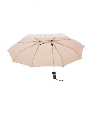 アーモンドベージュ  軸をずらした傘 Sharely(シェアリー) 折り畳み傘 撥水加工見る