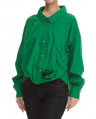 グリーン 裾ねじりシャツ見る