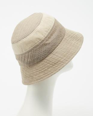 ベージュ からみ麻混リボン付きセーラー帽子見る