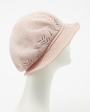 ピンク  サーモクロッシェ帽子見る