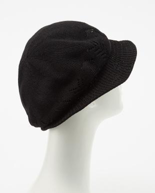 ブラック  サーモクロッシェ帽子見る