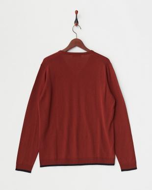 茶色  Vネックセーター見る