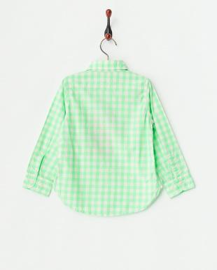 イエローグリーン ギンガムチェックシャツ見る