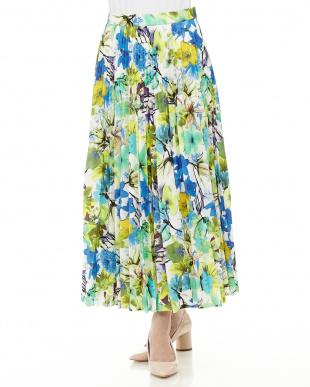 ブルー系 総花柄プリーツスカート見る