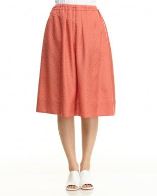 ピンク ランダムドットジャガードスカート見る