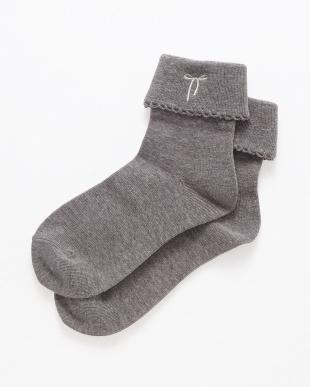 グレー  Socks リボン刺繍 ENFANT見る