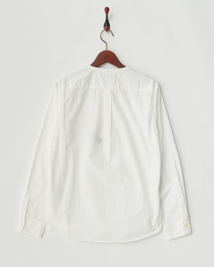 ホワイト  ノーカラーオーバーダイシャツ見る